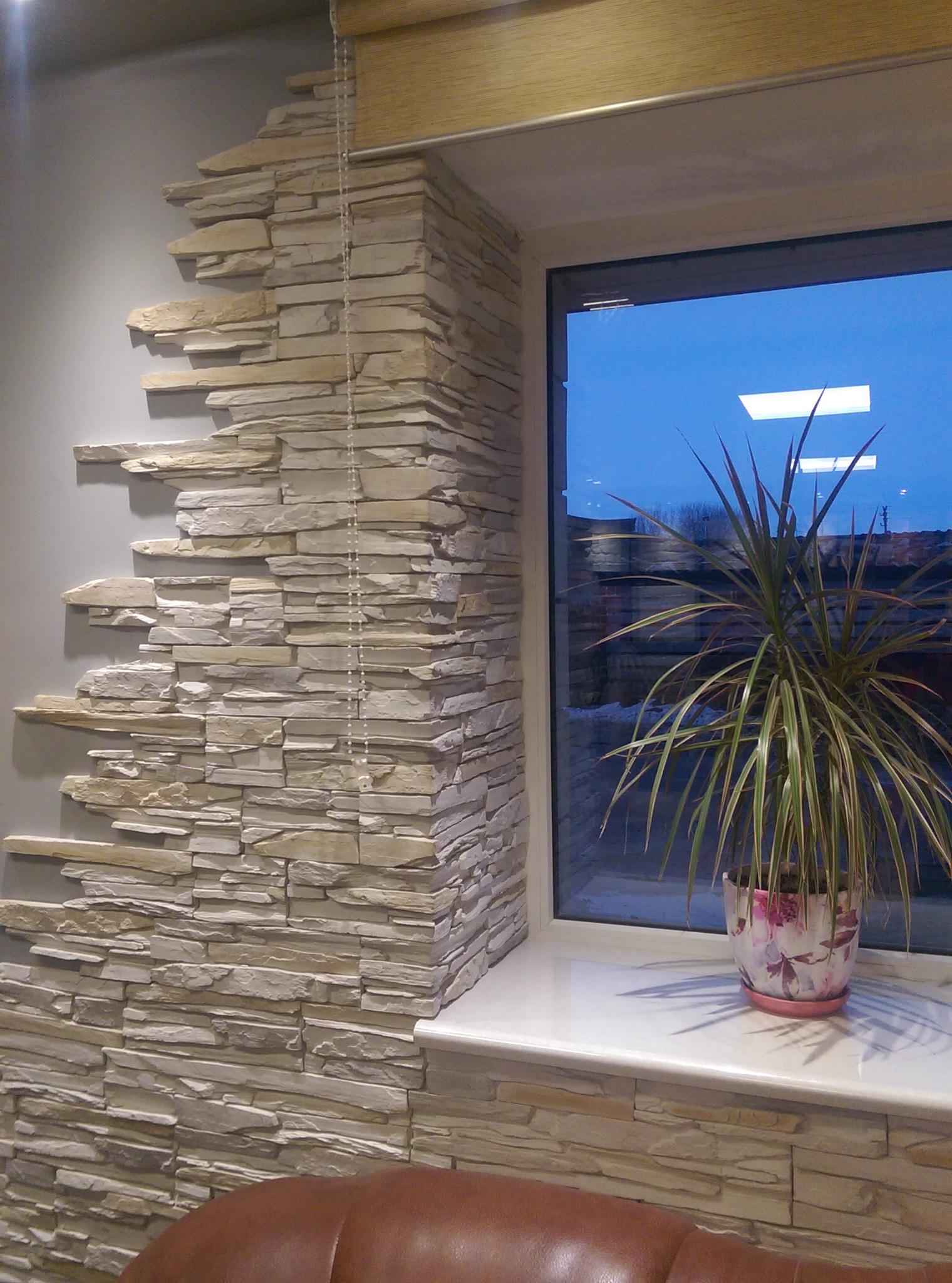 Декоративный искусственный камень фото в интерьере и внешняя.